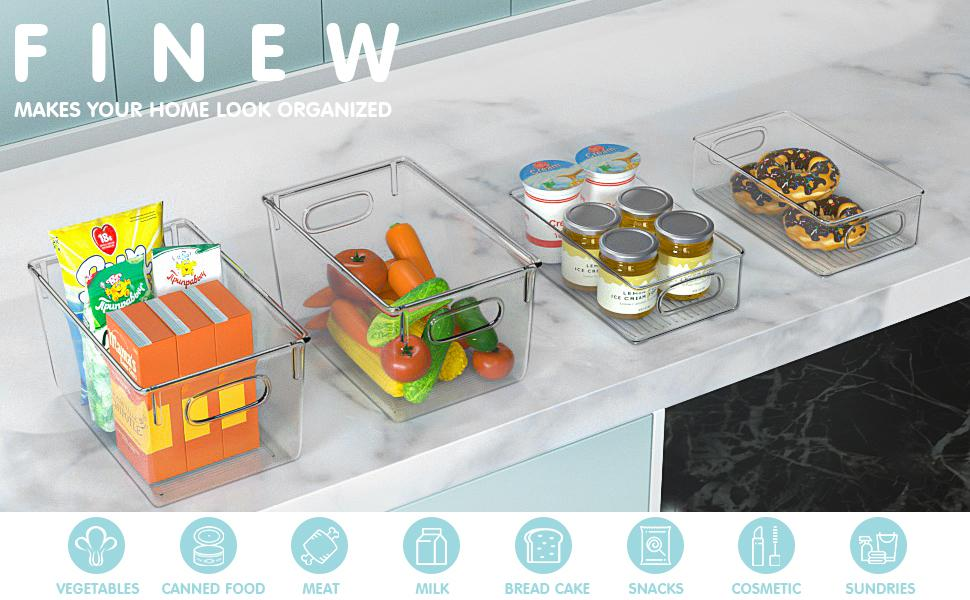 Finew Lot de 4 organiseurs empilables pour réfrigérateur
