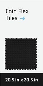 Black Coin Flex Tiles for Trailer or Garage Interlocking