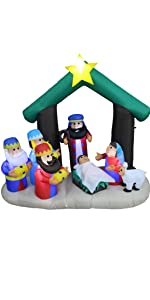 6 Foot Tall Christmas Inflatable Nativity Scene Manger Set with Three Kings Sheep Stable