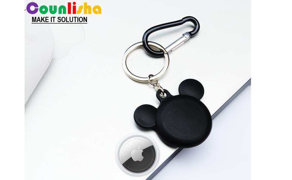 Black mouse silicone case for Airtags