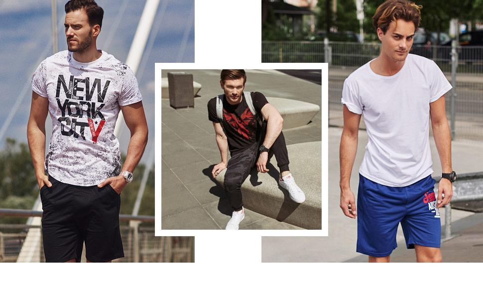 BOLF Hombre Camiseta de Manga Corta Estampado Cuello Redondo Print Estilo Casual Mix 3C3