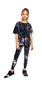 Romwe Girl's 2 Piece Outfit Tie Dye Workout Short Sleeve T Shirt and Leggings Set