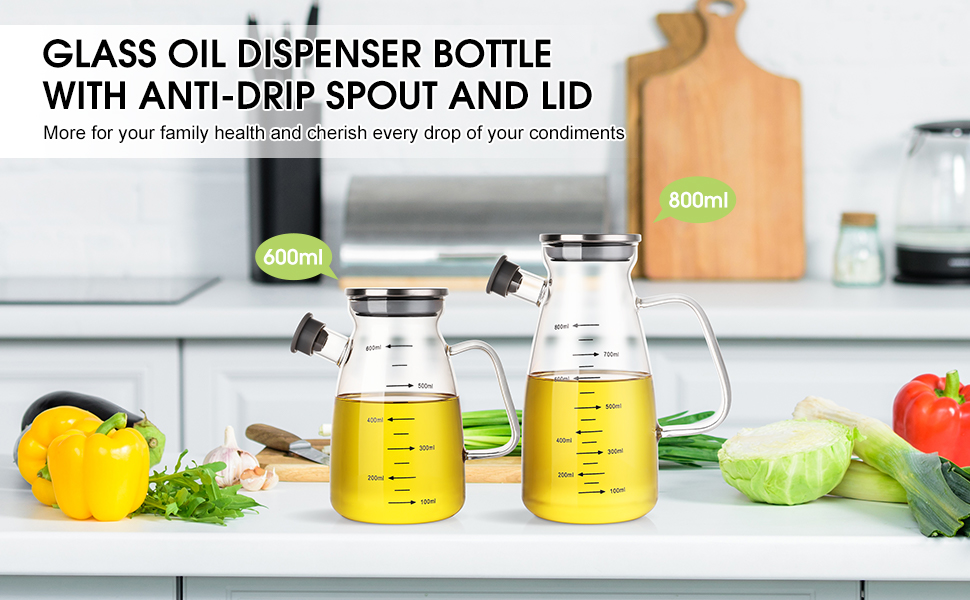 600ML/800ML Glass oil dispenser bottle with anti-drip spout and lid