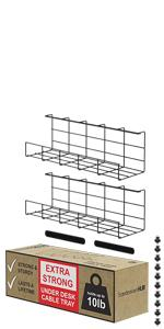 Under Desk Cable Organizer Wire Management Cable Tray Black