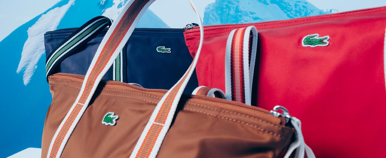 bolso con asas Lacoste marrón, rojo y azul marino