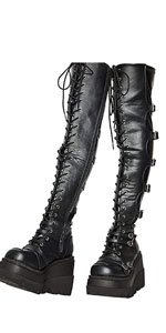 Women Lace Up Wedge Platform Thigh High Boots  Motorcycle Riding Boots Over The Knee Boots