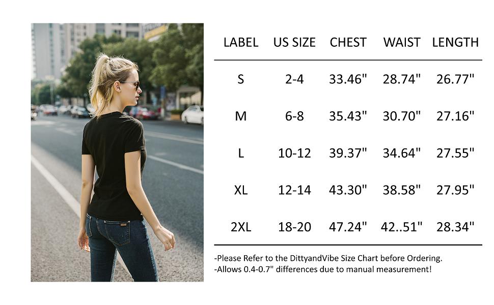 women shirt size chart