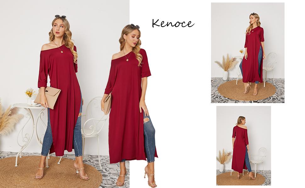 kenoce Blusa de Mujer Irregular Maxi Blusa Sueltas Largas Camiseta Abertura Larga Cuello Redondo y Manga Larga Elegante Fiesta Cóctel Noche Vestidos ...