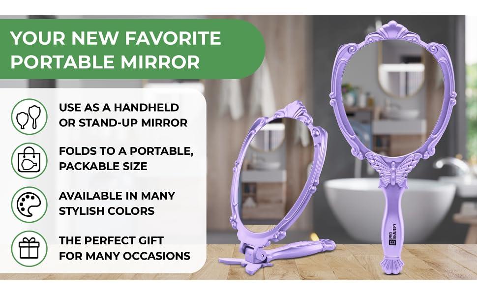 Probeautify Decorative Hand Held Mirror, Portable Mirror