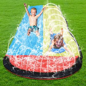 play water on the water slide slip