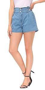 Jeans Corti da Donna a Vita Alta Pantaloni Corti Shorts Jeans