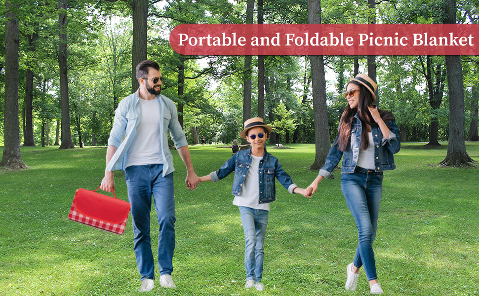 Portable and foldable picnic blanket