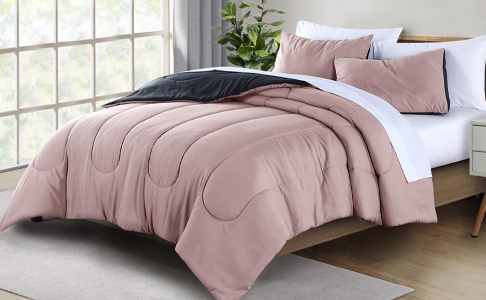 Pink Reversible microfiber 3-Piece comforter