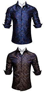 Barry.Wang Navy Blue Floral Paisley Dress Shirts for Men Silk Long Sleeve Tops