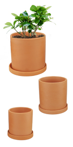 "3.5"" + 4.3"" + 5"" terracotta cylinder plant pots planters"