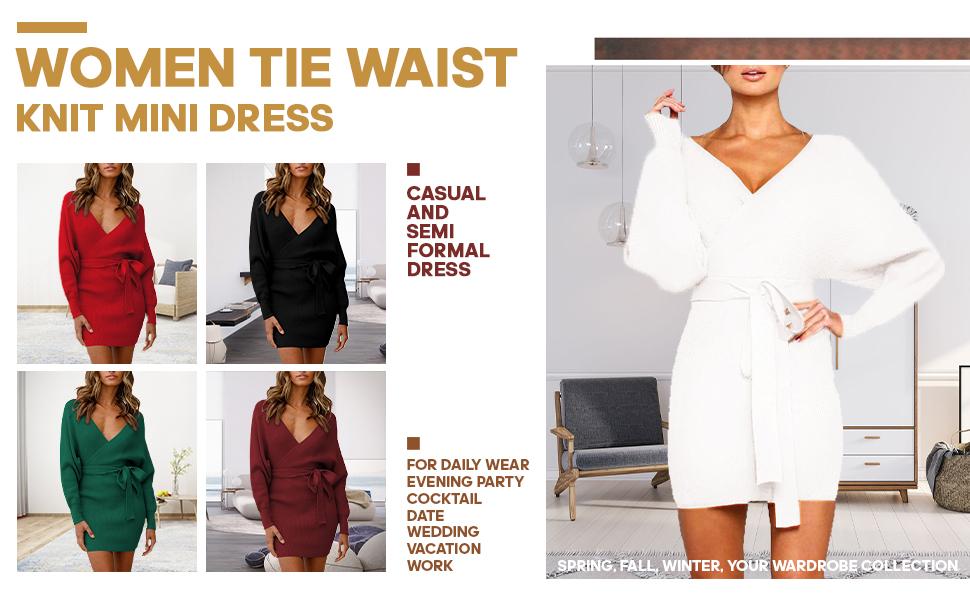 Women Tie Waist Cocktail Wrap Sweater Mini Dress