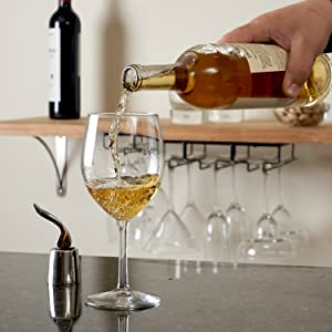 Pouring Wine with Wine Stopper amp;amp;amp; Black Wine Rack