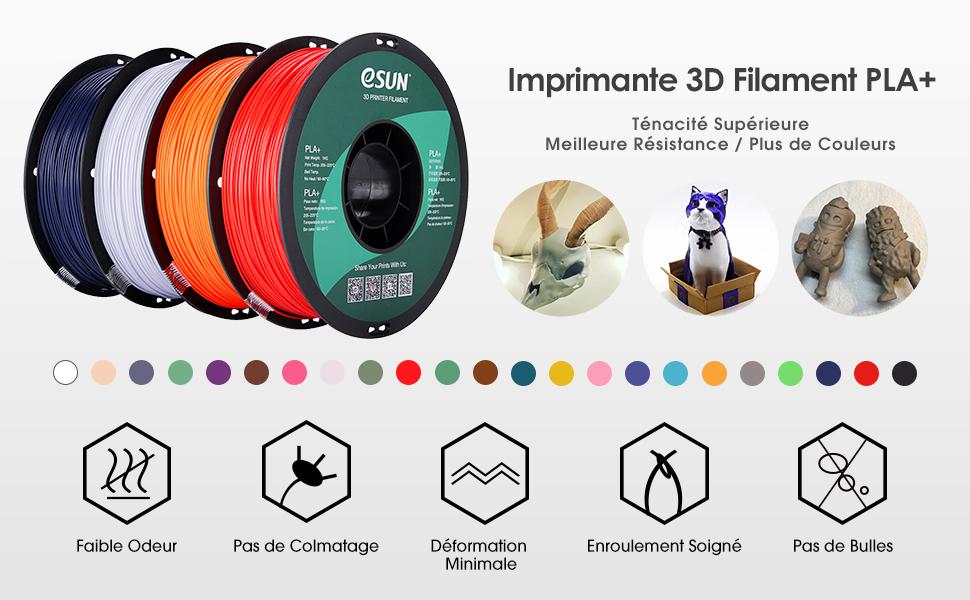 eSUN Filament PLA+ 1.75mm Imprimante 3D Filament PLA Plus 1KG Bobine Matériel d'impression 3D