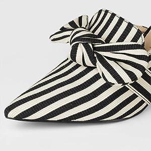 Allegra K Women's Stripe Bow Pointed Toe Block Heel Slides Mules