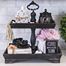 black rustic farmhouse coffee bar counter display with faux florals and bead garland welcome sign