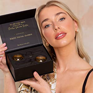Female model holding up product with packaging open displaying our ice globes.
