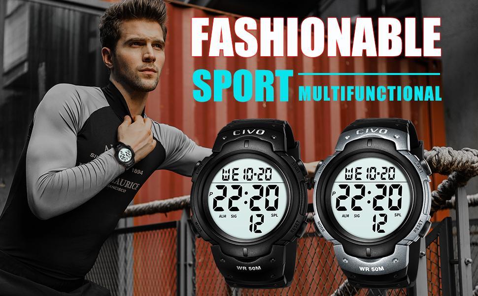 Mens Digital Watch Sport 50M Waterproof Outdoor Chronograph Military Wrist Watch