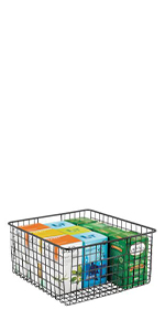 Black Metal Wire Kitchen Pantry Storage Basket with Handles Containing Tea Boxes