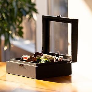 jewelry box, coin box, tea box, tea bag storage