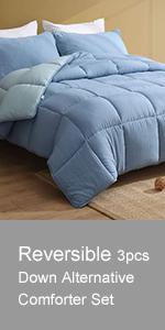 Reversible 3pcs Down Alternative Comforter Set