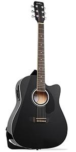Black Cutaway Thinline Acoustic-Electric Guitar