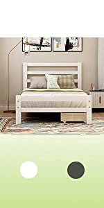 wood twin bed with storage white