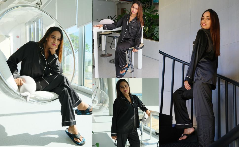 Customer Show for Women Satin Long Pajama Sets