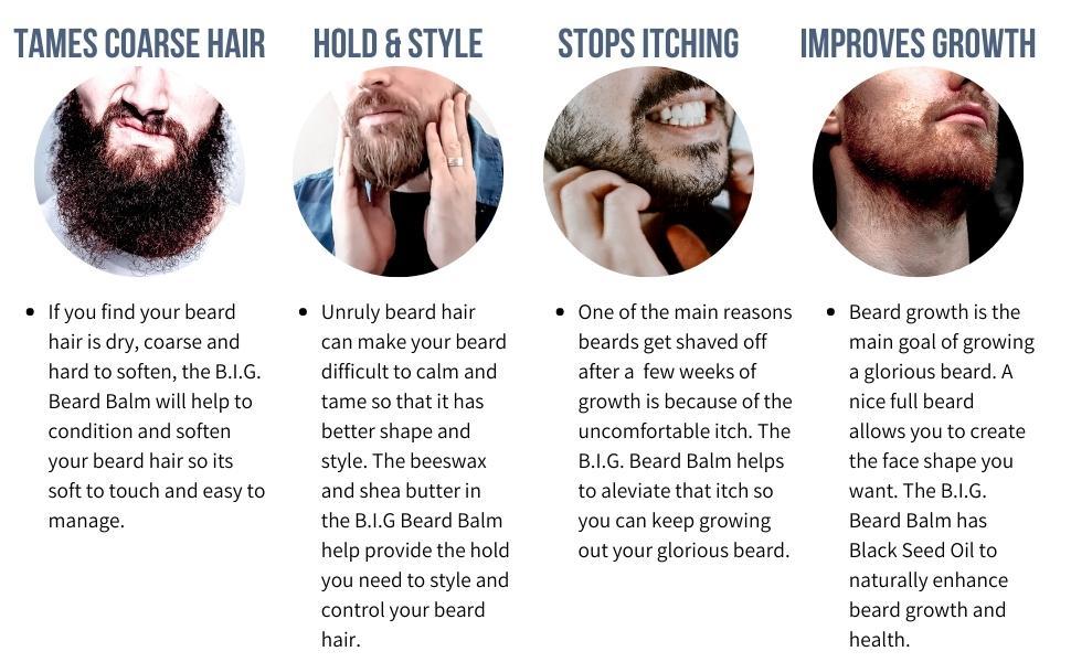 Beard Balm tames coarse beard hair, helps to hold beard, stops beard itching, beard growth support