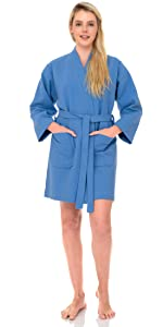 TowelSelections Women's Short Spa Robe Waffle Weave Kimono Bathrobe