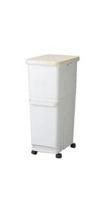 トンボ ゴミ箱 60L 日本製 フタ付き 2段 分別 スリム キャスター付 ホワイト セパ 新輝合成