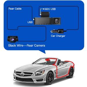 AZDOME 2K+1080P+1080P Dash cam