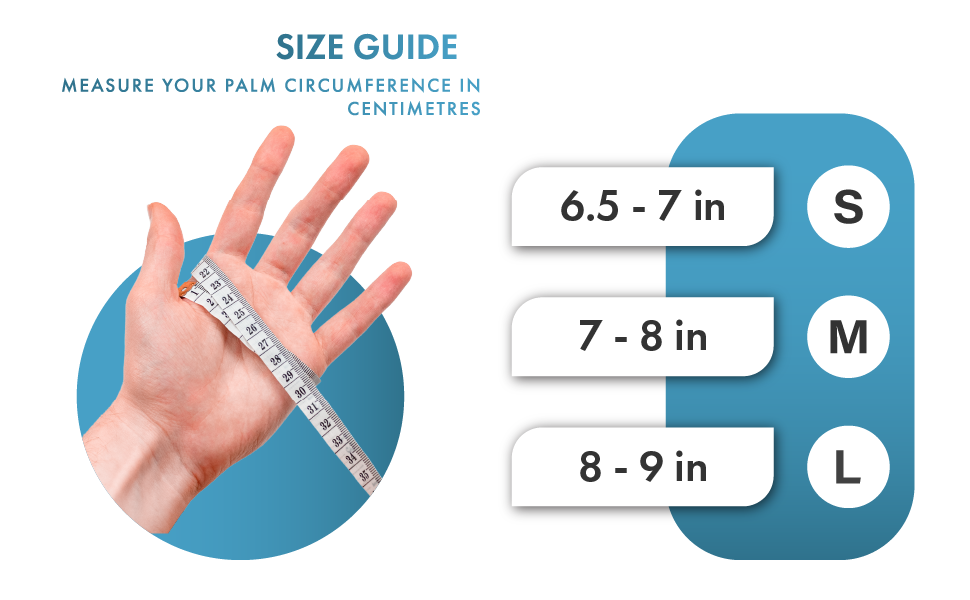 Measure palm circumference in inches. small=6.5-7 in. medium=7-8 in. large = 8-9 in.