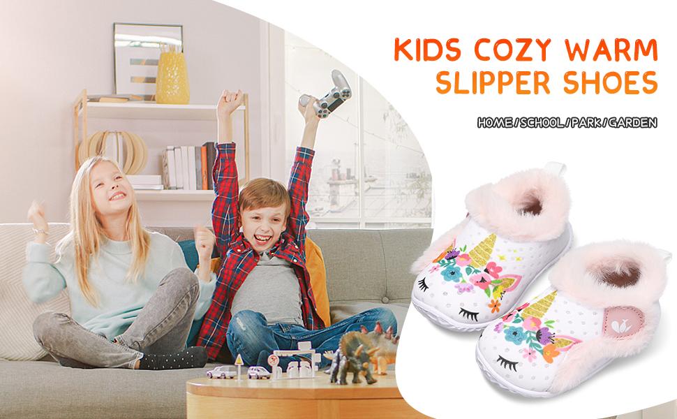 JIASUQI Winter Fuzzy Plush Memory Foam House Slippers Fashion Sneaker Shoes for Kids Girls Boys