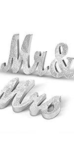 silver mr and mrs table sign