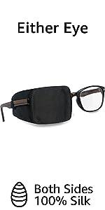 silk eye patch for glasses boys black