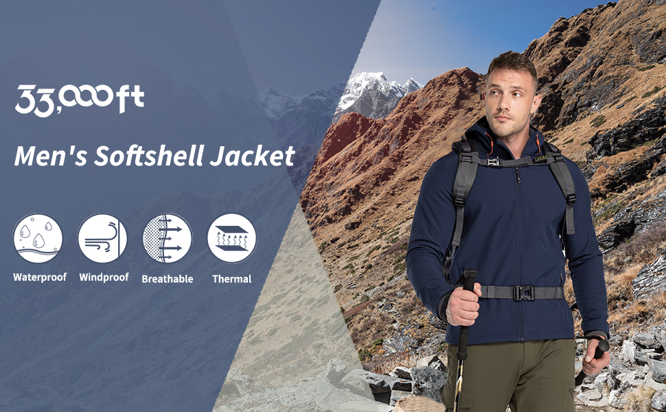 33,000ft men's softshell jacket with hood, waterproof windproof breathable and thermal