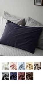 美しいサテンストライプ 高級ホテル仕様 超長綿100%日本製枕カバーエトワール