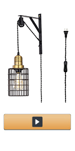 Adjustable Hanging Metal Cage Wall Lamp