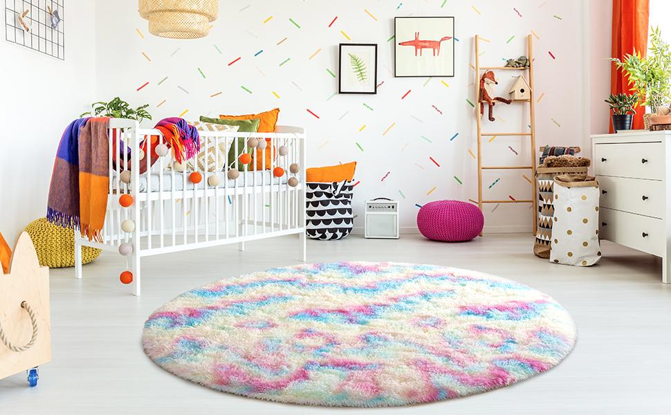 Rainbow round rug