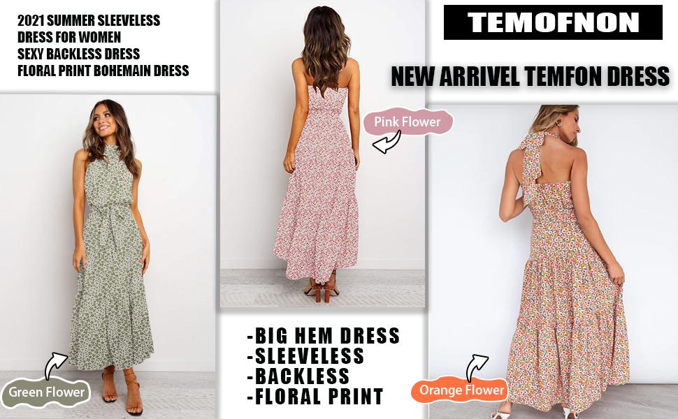 TEMOFON summer casual women maxi dress