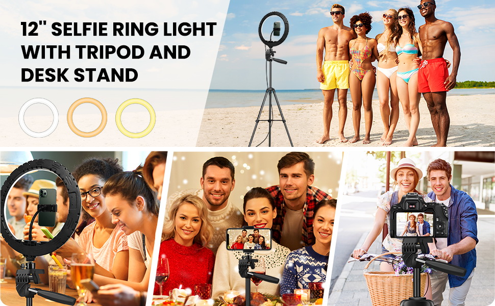 12 Inch Selfie Ring Light with Tripod and desk stand