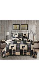 plaid deer quilts