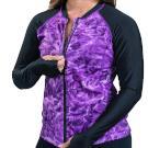 Aqua Design Women's Full Zip Long Sleeve Rash Guard: Front Zipper Swim Shirt