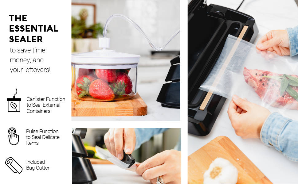 The essential vacuum sealer to save time, money and your leftovers.
