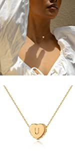 Women Heart Necklace Choker Gold Initial Diamond CZ Tiny 14K Dainty Chain Personalized Letter